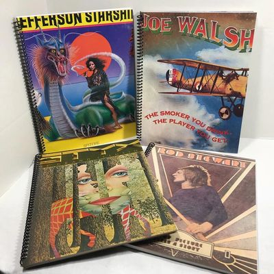 Handmade album cover spiral notebooks by Retro Regroove, using vintage record jackets.