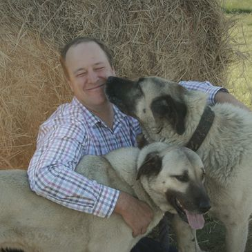 Dr Andrew Ritson Bennett vet with his dogs