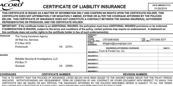 RSI, LLC's Certificate of Insurance