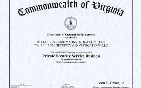 RSI, LLC's VA Department of Criminal Justice Services License #11-4256