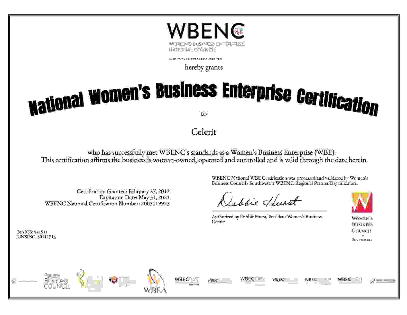 Celerit WBENC Certification
