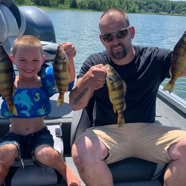 A few perch and bass fishing at Lake Wallenpaupack on a guided fishing trip