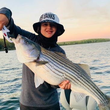 Monster striped bass caught at Lake Wallenpaupack while vacationing in Hawley Pennsylvania