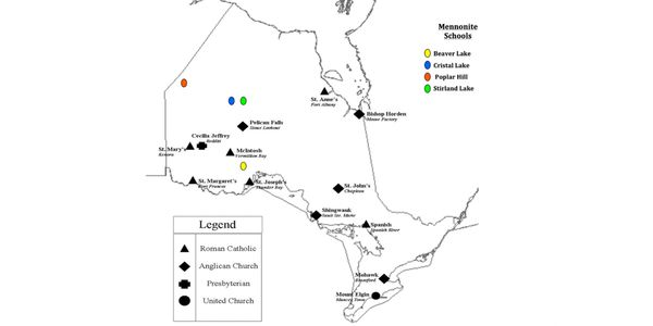 Map showing the schools in Ontario that the children from the Nishnawbe Aski Nation attended.