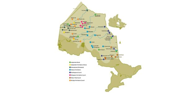 Map showing all 49 First Nations in the Nishnawbe Aski Nation region of Ontario.