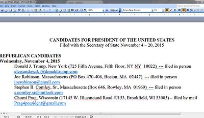 Chomi Prag's Declaration of Candidacy N.H. Primary Election for President of the USA; November 2015.