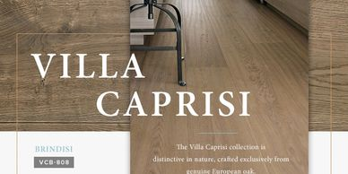 "Villa Caprisi - European Oak, 5/8"" thick, 9 1/2"" wide, brushed texture, 10 color ways offered."