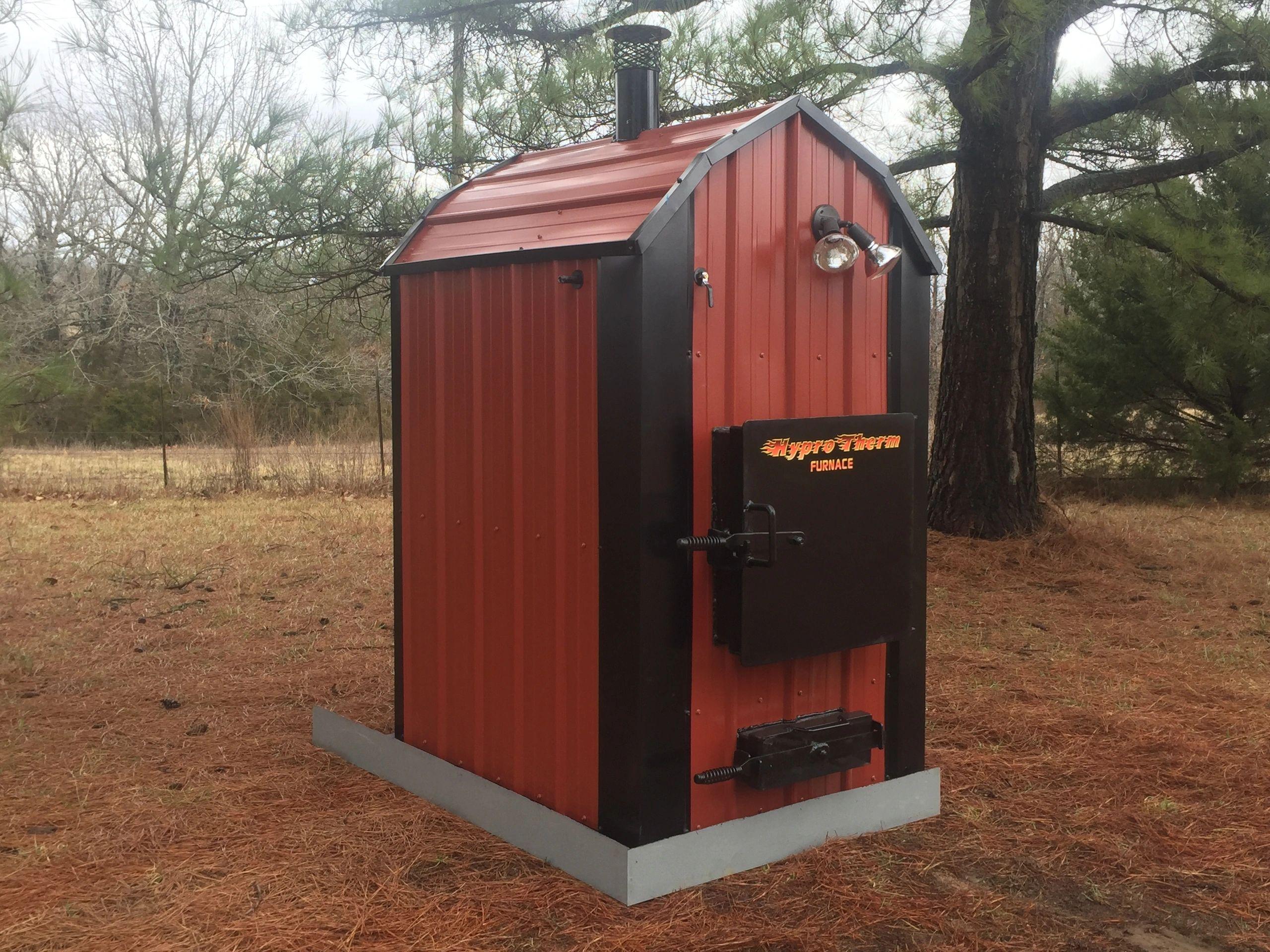 Waterless Forced Air Wood Furnace Boilers Boiler Thermostat Wiring Diagram Indoor Brick Red Black