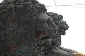 Restored copper lions from historic Alachua County Courthouse, FL