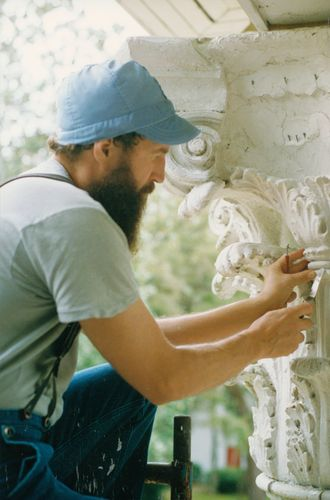 Restoration of a Corinthian column capital at a bed and breakfast inn in Micanopy, Florida