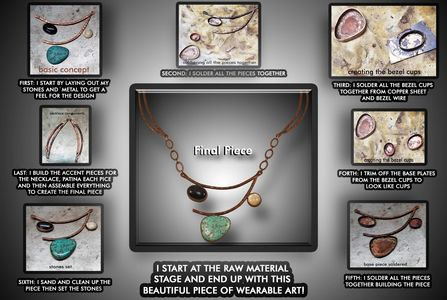 The cycle stage to building a piece of copper jewelry from raw material to the finished piece