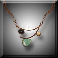 Wire copper necklace with turquoise cabochon accented with black onyx and jasper &  liver of Sulfur