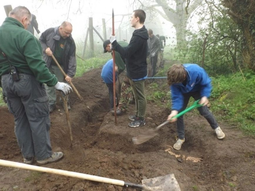 Students clearing the site at Dartmoor Zoo