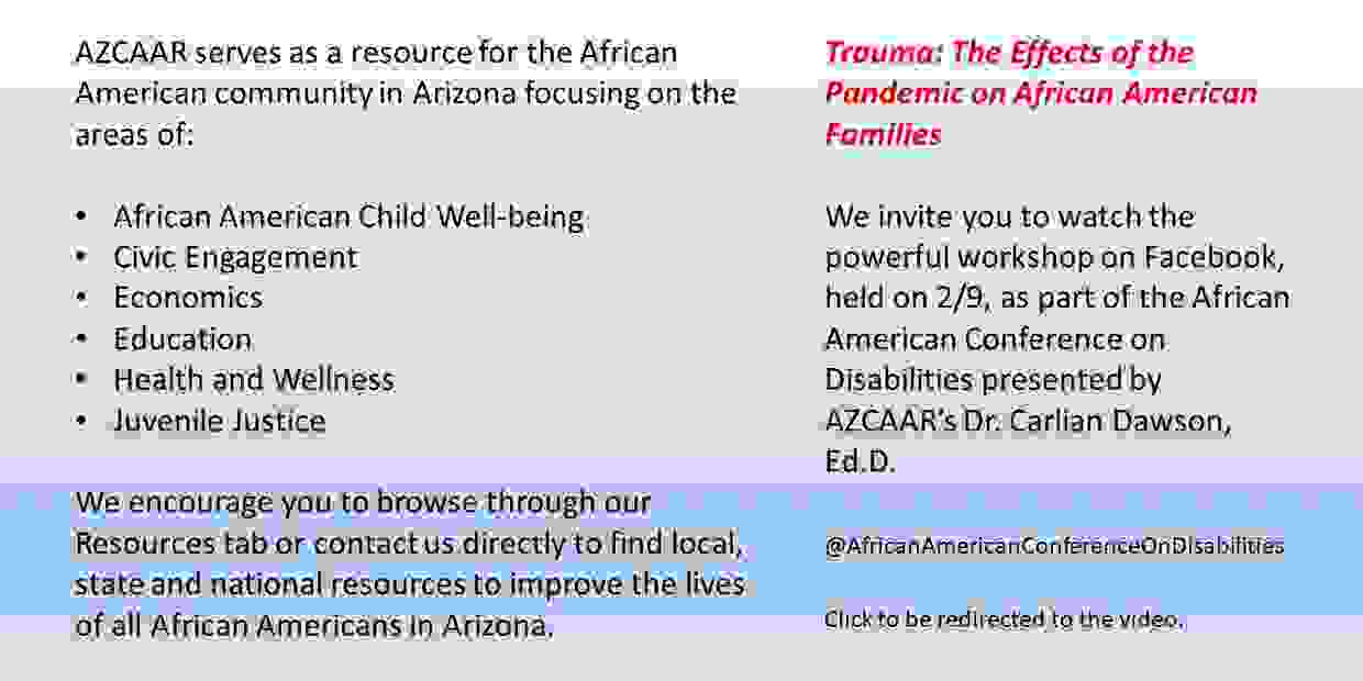 Arizona Center African American Resources Trauma