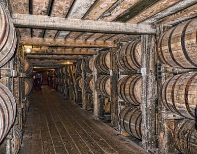 Kentucky Bourbon barrels in distillery rickhouse