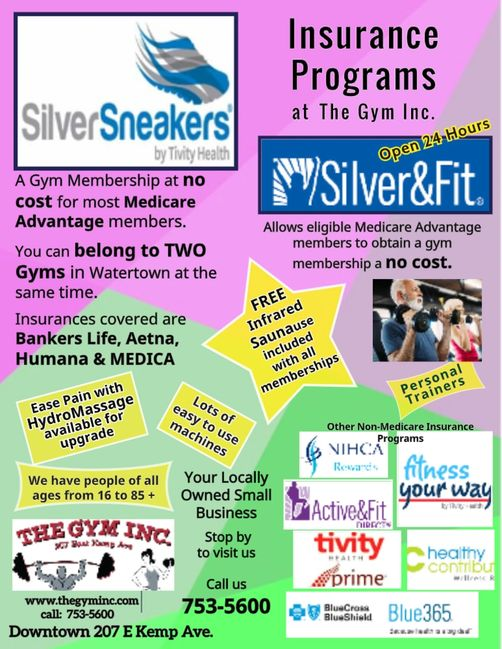 We participate in most Insurance Programs,such as  Silver Sneakers, Tivity, NIHCA, Avera & Blue 365