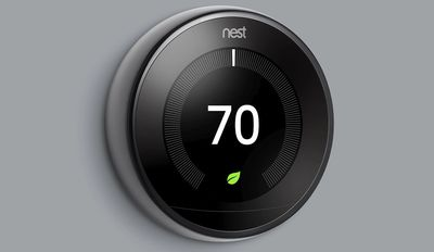 Google Nest Thermostat, given away with the Habitat home energy efficiency program.