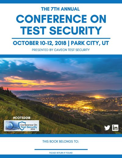 The cover of the program for the 2018 Conference on Test Security