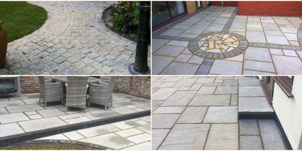 Cobble stone Patio and path, Indian Sandstone, Block Paved Edgings and Borders, Crazy Paving