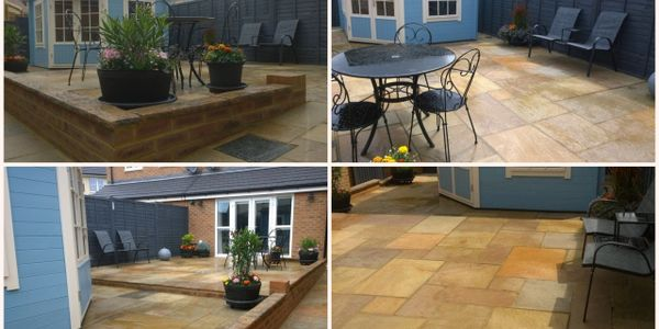 Indian Sandstone Paving, Access ramp and sloped path, walled edgings