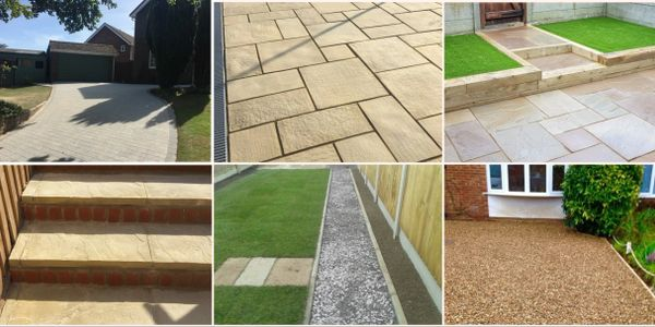 Artificial grass, Railway sleepers, Shingle and chippings, Steps and Fencing, Slopes