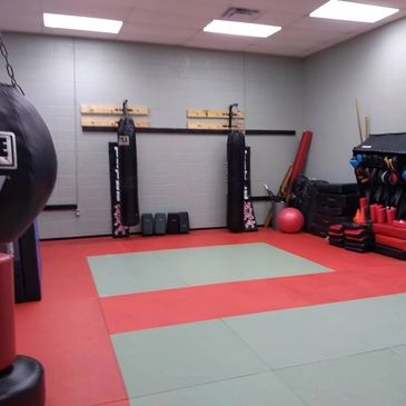 The Dojang New Orleans' Heavy Bag area for Kickboxing, Karate, and MMA