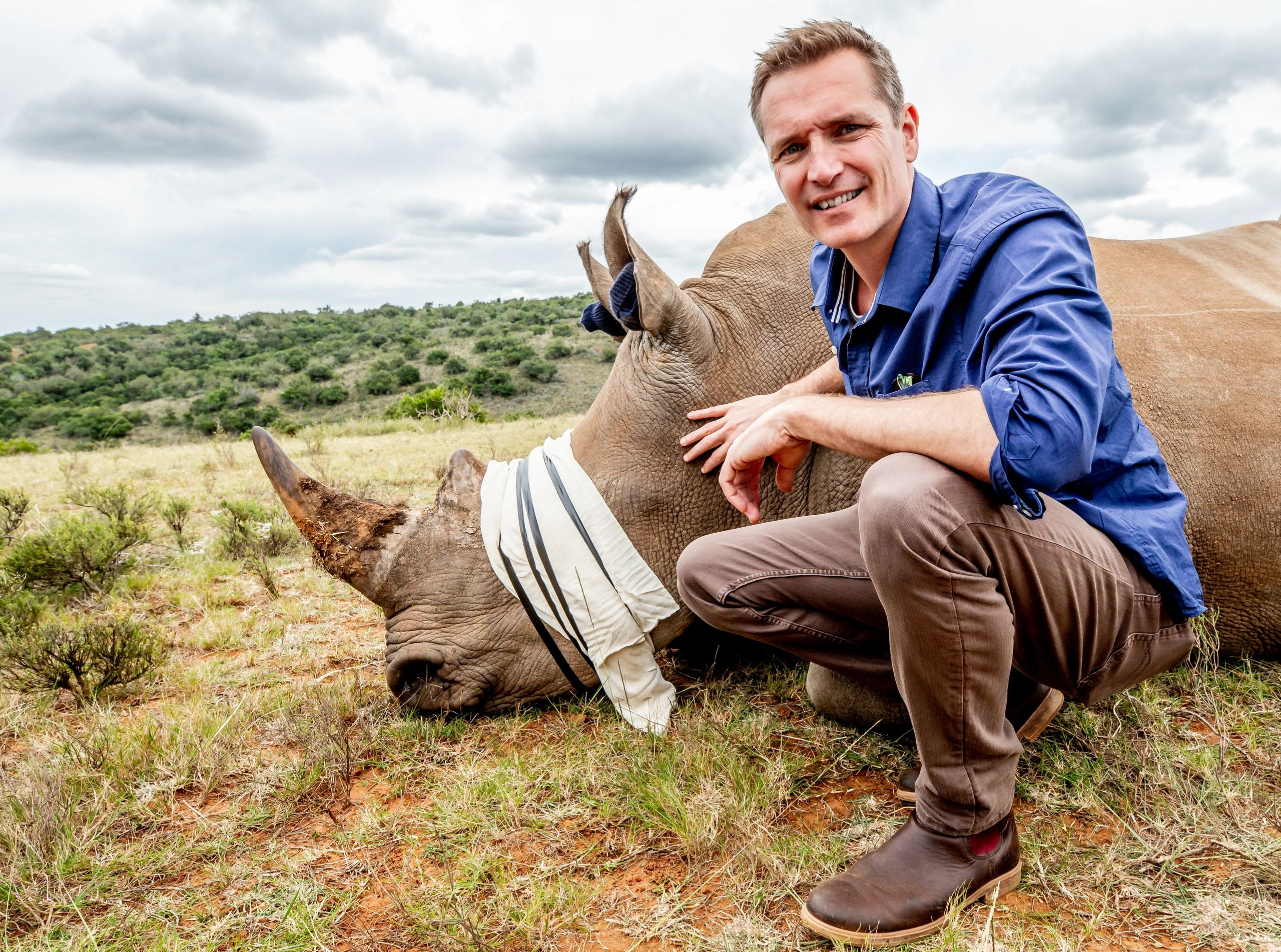 Rhino Encounter in South Africa's Eastern Cape, helping to deter the poachers