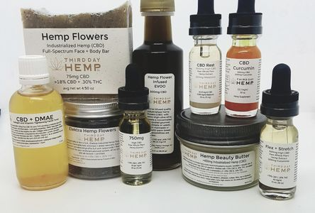 Pictured are a few of our holistic hemp products to help calm, reduce anxiety + stress and beautify.