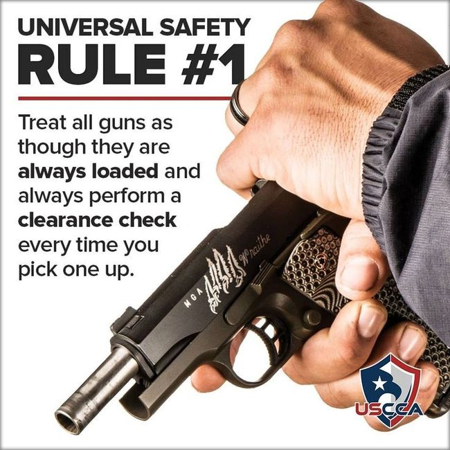 Four rules on gun safety: All guns are always loaded even if they are not treat them as if they are.