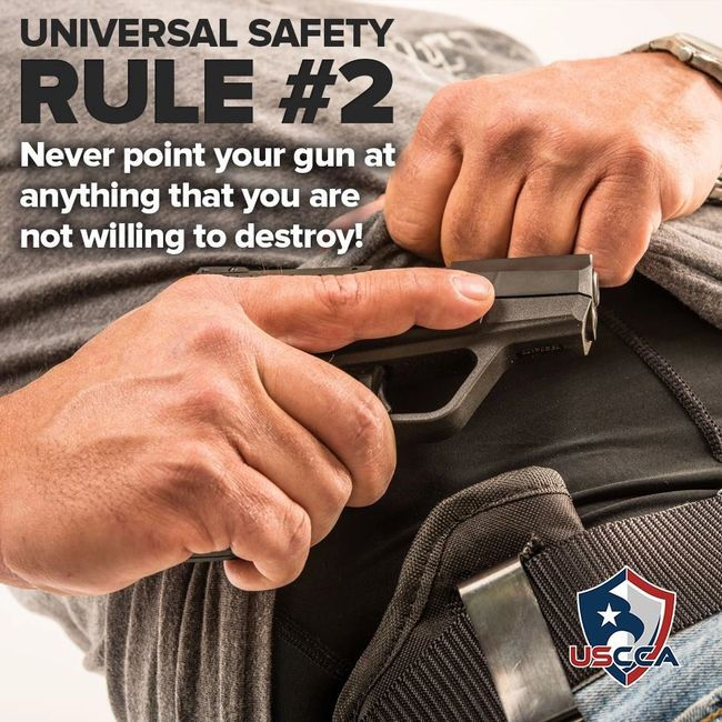 Four rules on gun safety: Never point the muzzle at anything you are not willing to destroy.