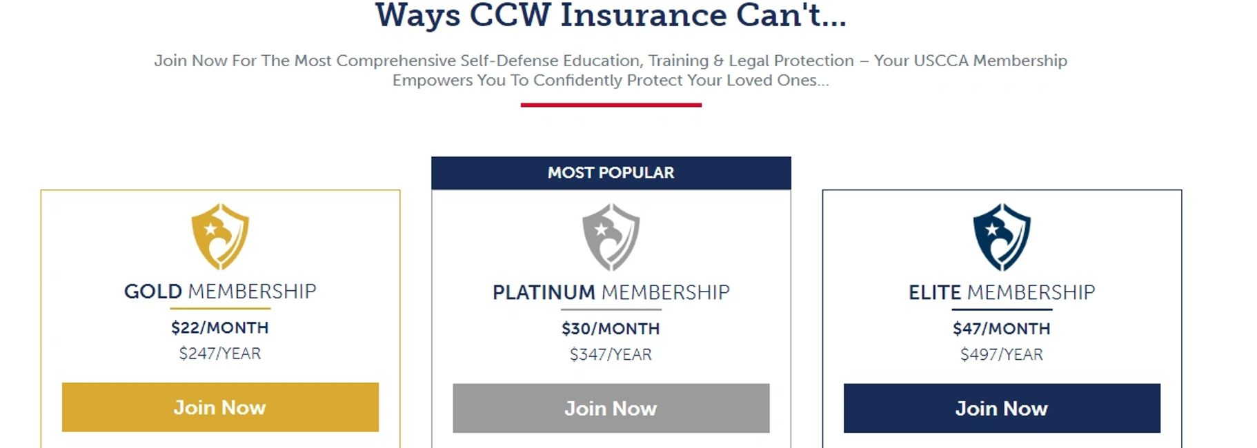 Three USCCA Plans and What They Cover CCW Gold Platinum Elite Membership self-defense insurance guns