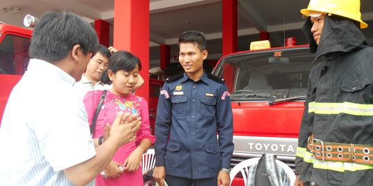 Visiting fire fighters and NGOs in Myanmar (Burma), Disaster Response research, Occupational Health
