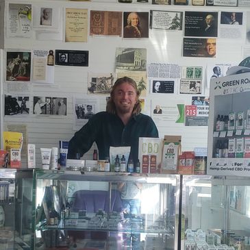 Tom Thacker at EndoSOLUtIONS essential oil store and hemp museum in buckhannon west Virginia