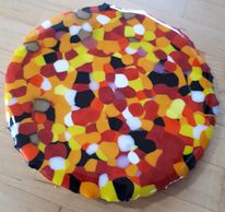 stained glass pizza artwork. size of a small pizza