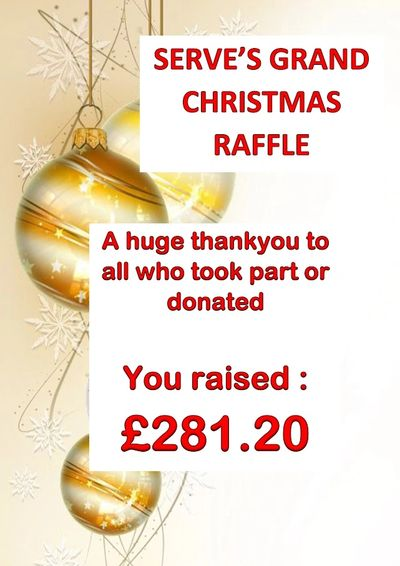 Serve Christmas charity raffle thank you poster