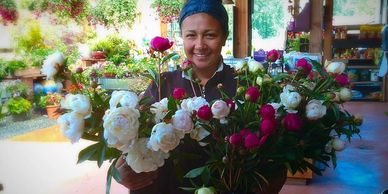 Bouquets made from flowers grown on our farm stand by our Sustainable Blooms florists.