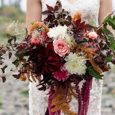 A stunning, bespoke wedding bouquet custom designed from our locally grown, sustainable flowers.