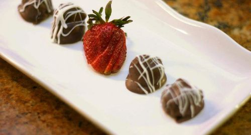 Plate of chocolate covered strawberries