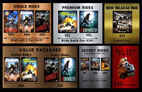What rides does THE RiDE 7D offer? What is THE RIDE 7D pricing?