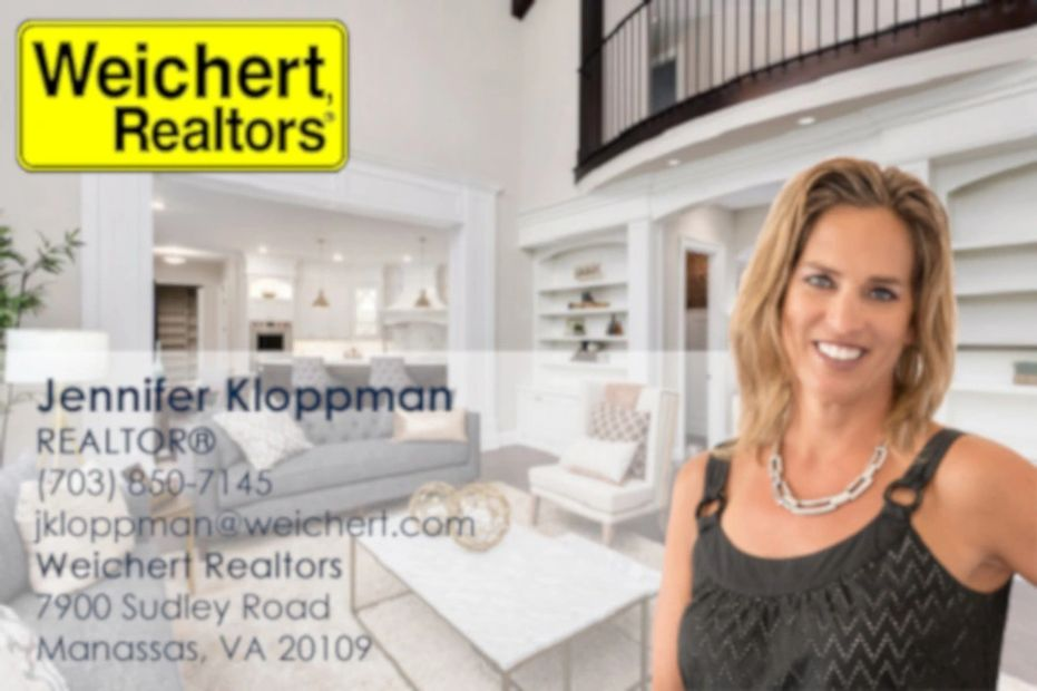 female realtor stands in beautiful home with overlaid contact information to reach her