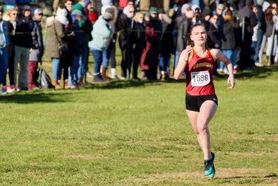Emma McGill charging towards the finish at Holmdel today!