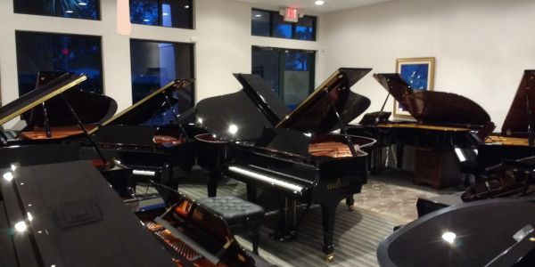 Grand pianos, baby grand pianos, player pianos, and digital pianos by Yamaha, Kawai, and Steinway.