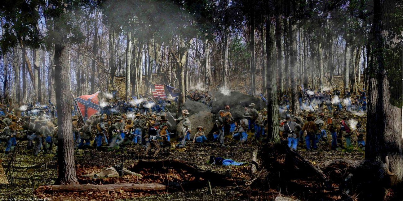 1st Texas Triangular field Gettysburg canvas print w//frame Ltd//Ed