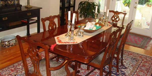 Refinished formal dining table and chairs