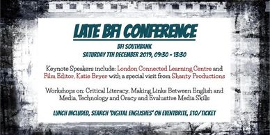 We are delighted to be on the Guest List for LATE & BFI Education Winter Conference on December 7th.