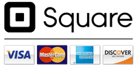 safe and secure SSL encrypted, payments, Visa, MasterCard, Discover, American Express, Square