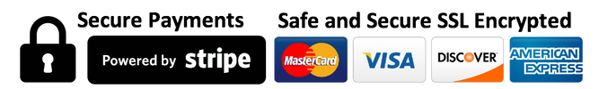 safe and secure SSL encrypted, payments, Visa, MasterCard, Discover, American Express, Stripe