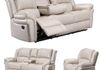 Ivory Faux Leather (Sofa Drop Down Cupholders & Love Seat Console, Cupholders and Storage)