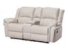 Ivory Faux Leather (Love Seat Console, Cupholders and Storage)