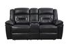 Black Top Grain Leather (Love Seat Console, Cupholders and Storage)